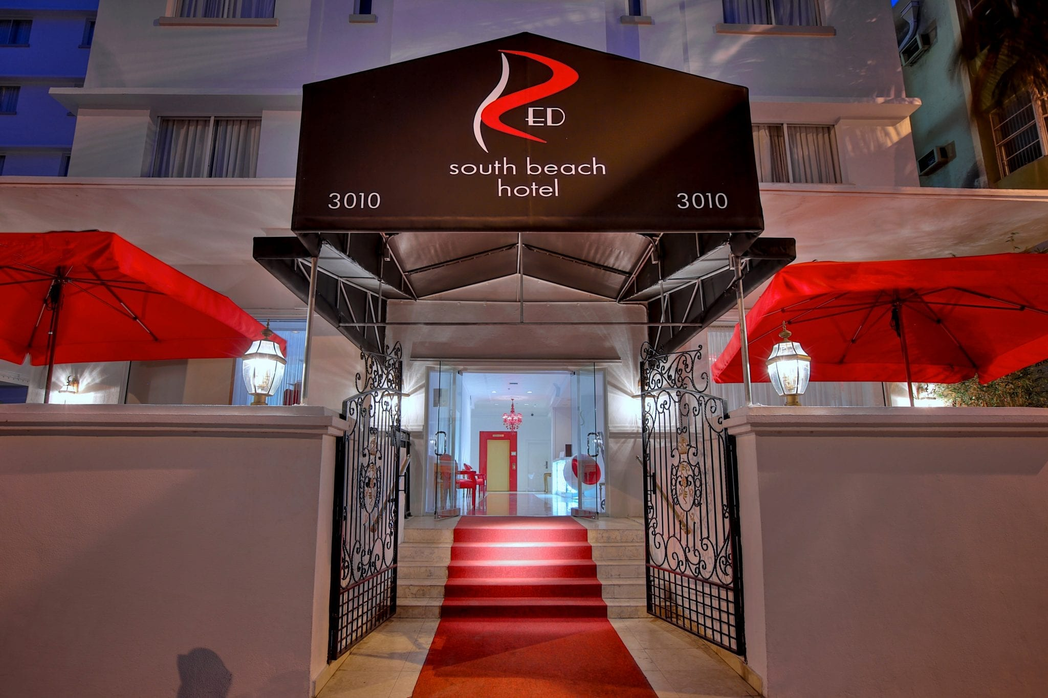 Front-Entrance to Red South Beach Hotel in Miami Beach, USA